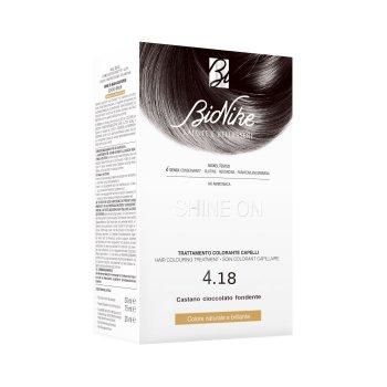 bionike shine on tintura capelli colore 4.18 castano cioccolato fondente