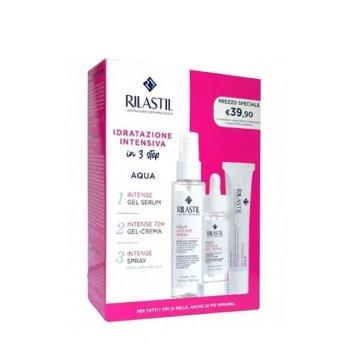 rilastil kit acqua intense - gel serum 30ml - gel crema 40ml - acqua spray 100ml-