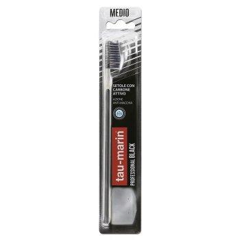 tau marin spazzolino professional black con antibatterico setole medie