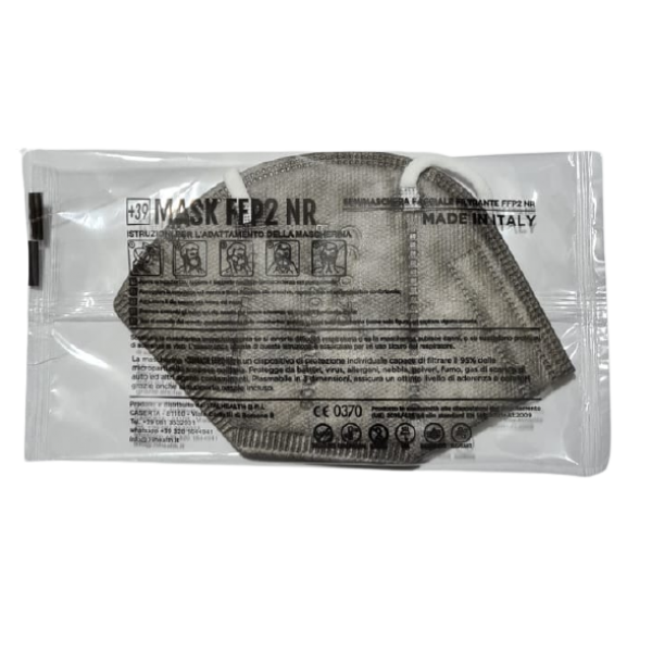Mascherine FFP2 CE0370 Made In Italy Adulti Grigio - 1,33€ al pz Buste Singole 15 Pezzi