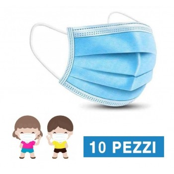 mascherine chirurgiche bambini azzurre tipo iir -10 pezzi