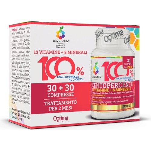 CENTOPERCENTO DUO PACK  Vitamine e Minerali 30 + 30 Compresse Colours of Life