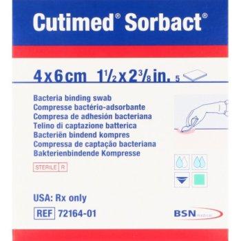 cutimed sorbact garze medicate 4 x 6cm 5 pz