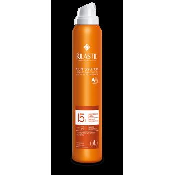 rilastil sun system spf15 transparent spray wet skin solare protezione media 200 ml