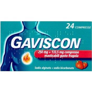 gaviscon 24 compresse gusto fragola 250+133,5mg