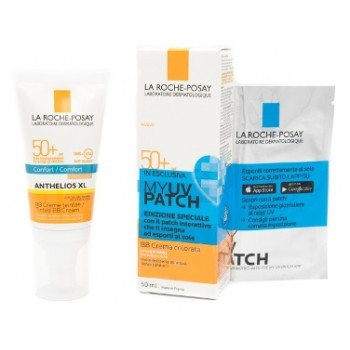 la roche posay anthelios spf50+ crema solare bb 50 ml + my uv patch 1 busta