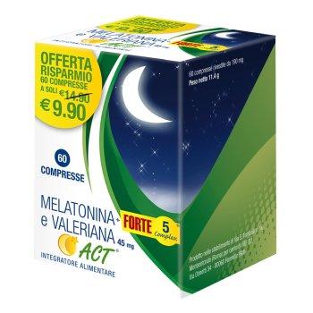 melatonina+ forte 5 complex e valeriana act 45mg 60 compresse
