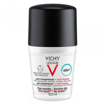 vichy homme deodorante roll-on mineral anti macchie 50 ml