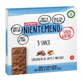 enervit nientemeno snack barretta cioccolato al latte e nocciole 3 x 33g